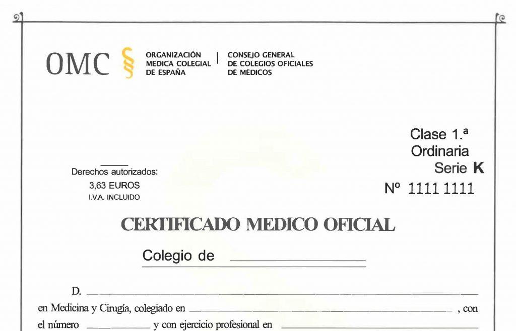 Como rellenar un certificado medico correctamente