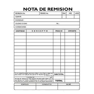 Como llenar una nota de remision